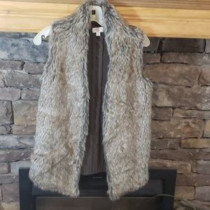 Joseph A. Open Knit Faux Fur Sweater vest sz Xs